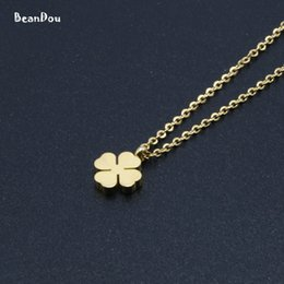 Clover Chain Wholesale Australia - whole saleFashion Womens Pendant Necklace Small Clover Charm Titanium Stainless Steel 45cm 18Link Chain Jewelry For Girls Free Shipping