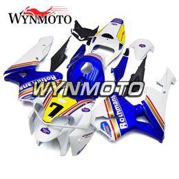 White Blue Yellow Body Cowlings ABS Injection Bodywork For Honda CBR600RR F5 Year 2005 2006 05 06 Complete Fairing Kit Body New from white abs thunderace suppliers