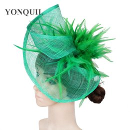 Brown fascinator hat online shopping - Women multiple colors high quality fascinators hats with feather hair accessories fascinator hat event headwear MYQ032