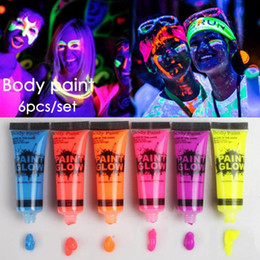 painting faces Australia - 6 Colors Set Neon Color Body Face Painting UV Reactive Flash Tattoo Tempaorary Shining Run Glow Dark Oil Paint Fluorescent Z05