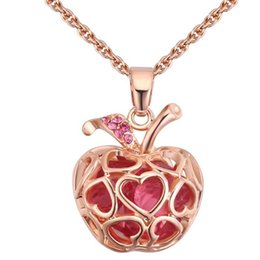 Necklaces Crystal Apple Australia - Apple Pendant Necklaces For Women Austria Crystal Vintage Fashion Jewelry Accessories High Quality Ladies Gift 27888