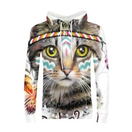 China Hip Hop Tribe Cat Hoodie 3d Cheese Animal Print Sweatshirt Men White Long Sleeve Clothes 2018 Streetwear Boy Male School Hoodies cheap blue cheese suppliers