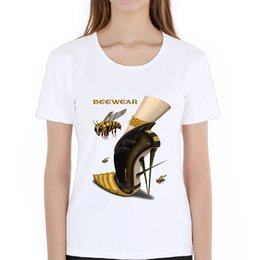 $enCountryForm.capitalKeyWord NZ - Women's Tee Fashion Bee Illustration High Heels Shoes T Shirt Women Printed T Shirts O - Neck Soft Short Sleeve Casual White Tops