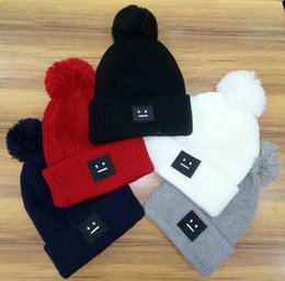 Unisex Winter Fashion brand ANCE Smile women beanie Rough wool knitted hat  casual outdoor warm skull caps With pom-pom ski gorros 5 color a6535682d177