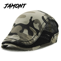 2f9834a1b67  JAMONT  Hot Fashion Camouflage Beret Hat For Men Women Gorras Planas Net  Visors denim Peaked Flat Cap Casquette Boina Masculina