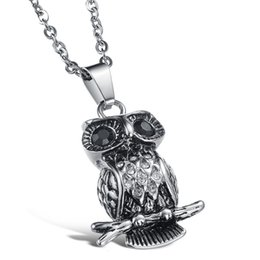 China Fashion Hot sale Men Animal Jewelry Stainless Steel Necklace classic Vintage Silver Owl Pendant Necklaces for Men cheap black titanium cross necklace suppliers