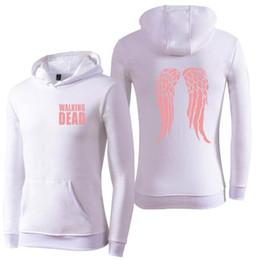 Discount walking dead clothes - Walking Dead Clothing Hooded Hoodies Fleece Hoody Sweatshirt Men Women Wing Logo Pullover Hip Hop Winter Streetwear