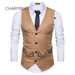 Chinese  Khaki vest mens Fashion embroidery design Sleeveless vests mens tan vests Men's V-neck vest vest mens manufacturers