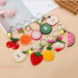 Wholesale New style apple Strawberry oranges pineapple key chain metal creative hardware commodity immediately rich personality key button