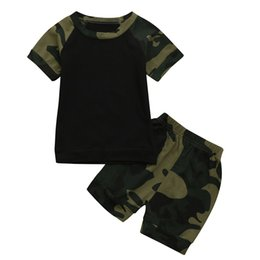 67ae2fe95bf8 Hot Sale Clothing Children Summer Newborn Toddler Baby Camouflage Print  Tshirt Tops Pants Outfits Clothes Set dropshipping
