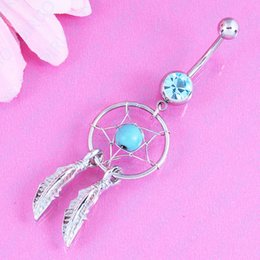 $enCountryForm.capitalKeyWord NZ - Retail Body Jewelry Crystal Gem Dream Catcher Navel Dangle Belly Barbell Button Bar Ring Body piercing nickel-free
