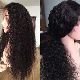 Long Lasting Hair NZ - For women long lasting aaaaaa human hair 100% unprocessed long natural color no shedding kinky curly full lace wig