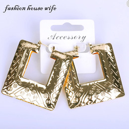 Large Housing Australia - whole saleFashion House Wife Hiphop Gold Geometric Square Hoop Earring Big Large Basketball Wives Earring Jewelry Party Gift LE0042