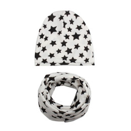 Cotton Winter Scarves Australia - TELOTUNY Autumn Winter Baby Hat Girl Boy Cap Children Hats Toddler Kids Hat Scarf Collars Cotton Blend Cute Stare Print S3FEB13