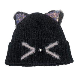 Women Fashion Keep Warm Cat Ear Winter Hats Knitted Wool Hemming Hat Wool Ski  Beanie Skull Caps Hat Winter Hats for Women babfc6fc777c