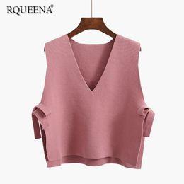 e898a40e9 Knitted sweater vest Korean online shopping - 2018 Autumn Women Fashion V  Neck Pink Sweater Vest