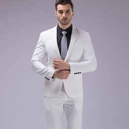 $enCountryForm.capitalKeyWord Australia - Classy Mens Suit White Lapel Neck 3 piece Slim Wedding Tuxedos For Beach Wedding Cheap One Button Groomsman Wear Shirt High Quality 2018