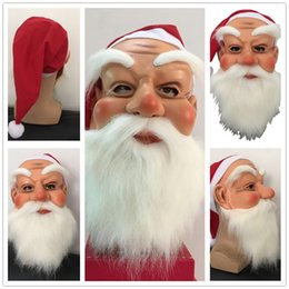 Party Face Mask Sizing Australia - Adult Size Santa Claus Mask Beard Full Face Masks Adult Teenage Masquerade Costume Fancy Full Head Headgear Halloween Party Christmas Masks