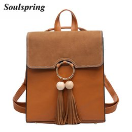 Brown School Bags Canada - 2017 Brand Scru Pu Leather Backpack Women Fashion Tassel School Bags For Teenage Girls Brown Backpack Metal Ring Sac A Dos New