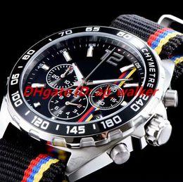 73f95fa42c Marca de lujo, cronómetro, reloj de Goodwood Racing, para hombres. Correa  de nylon. Esfera negra. Movimiento de cuarzo VK. Cronógrafo.