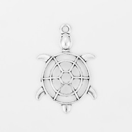 $enCountryForm.capitalKeyWord Australia - 10pcs Antique Silver Hollow Open Charms Turtle Pendant Zamark For Necklace Jewelry Making Findings Accessories 56x37mm