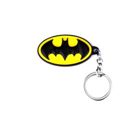 Superhero Keychains Canada - New Style Batman Keychain 3 Colors Cartoon Superman Superhero Key Chain Batman Keychains Key Rings Gift Key Holder for Cars