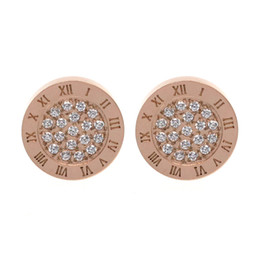 China WK Titanium steel Plated 18K Rose Gold Silver Earrings Roman Numerals Stud Earring With CZ Zircon suppliers