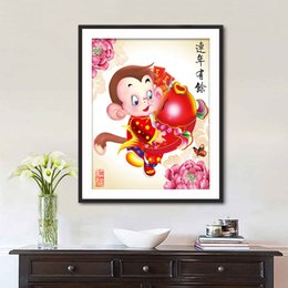 China Pole Australia - New Pattern Lan Diamonds Picture The Year Of The Monkey Auspicious Goldfish Stick Drill Cross Embroidery Hallway Decoration Painting Generat