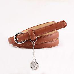 $enCountryForm.capitalKeyWord UK - Circle Hanging Drop Belt Belts For Women Classic Wild Female Minimalist Thin Belt PU Leather Cinturon Hombre Cinto Feminino
