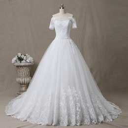 short ball gowns wedding dresses Canada - Romantic Lace Ball Gown Wedding Dress Court Train Off the Shoulder Short Sleeves Lace-up Back Applique with Sequins Beads Bridal Gowns