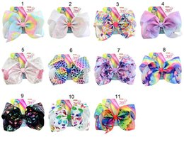 Logo signature online shopping - JOJO SIWA cm LARGE Rainbow Signature HAIR BOW with card and sequin logo baby girl Children Hair Accessories fashion hair clip