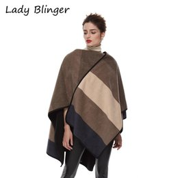 Ladies thick winter poncho online shopping - Lady Blinger taupe brown wide striped wraps women winter thick fabric poncho super large stole cashmere scarf