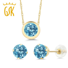 e393d631aaf104 GemStoneKing 2.70 Ct Round Natural Blue Topaz Jewelry Set For Women 14K  Yellow Gold Pendant Earrings Set
