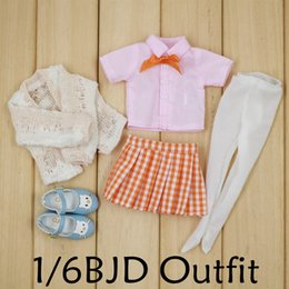 $enCountryForm.capitalKeyWord Canada - Dolls Accessories Dolls Accessories 1 6 BJD A set of Cute outfit Plaid skirt and shirt with Cardigan Sweater not for Blyth ICY NEO