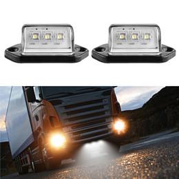 Wholesale Trailer Lights Australia - 12V 3LEDs Car Licence Plate Light Rear Tail Lamp 6000K White For Truck Trailer Lorry Auto Lighting 2Pcs set