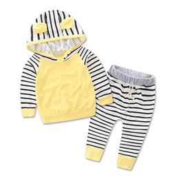 Zebra Striped Shirt Girls NZ - Newborn babys Zebra striped leisure suit kids infant baby girls clothes hooded t-shirt top + pants 2pcs set boy outfit dress