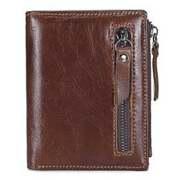 Trade Key Australia - New fashion foreign trade short wallet men's retro first layer leather wallet double zipper coin bag calfskin vertical wallet