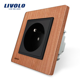 Outlet wOOd online shopping - Livolo EU standard New Outlet French Standard Wall Power Socket VL C7C1FR Cherry Wood AC V A