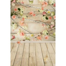 Discount wood floor backdrop for photography - 1x1.5M Vinyl Photography Backgrounds Newborn Flowers Wood Floor Theme Photo Backdrops for Photo Studio CM6698
