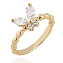 Wholesale whole saleNew Twisted Rope Finger Toe Cut Cubic Zircon Cute Butterfly Engagement Ring for Women Size