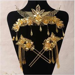 Coronet Hair Australia - bride headdress costume suit Chinese wedding jewelry show jewelry hair ornaments dragon and phoenix coronet