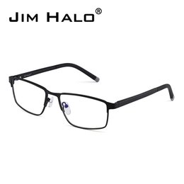82d0aa2548f Jim Halo Retro Optical Rectangle Metal Black Frame Lightweight Spring Hinge  Non-Prescription Clear Lens Glasses Men Eyeglasses