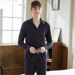 Wholesale couples sleepwear online – 2018 Autumn Brand Two piece sets Couples Casual Pajama sets Men Modal Sleepwear suit Male long sleeve Turn down shirt pants