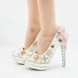 clover shoes NZ - Fashion crystal Clover tassel platform High Heels white pearls Wedding Shoes Bridal round toe High Heels sexy Party Prom Shoes Plus Size