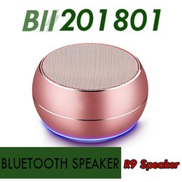 Mini Subwoofer Speakers Iphone Australia - R9 Metal Mini Bluetooth Speakers LED Light Subwoofer Wireless Speaker Computer Support TF FM Mic For iPhone X 8 7S Samsung S8 Edge sound bar