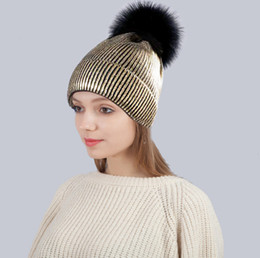 abc7d125089 Designer Gold Stamp Snow Knitted Pom Beanies Hats For Mens Womens Skull  Winter Cap Slouchy Head Warmer Hair Bonnet With Fur Ball
