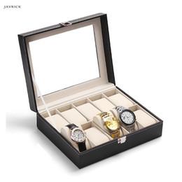 Glasses Storage Australia - JAVRICK 10 Slot Watch Box Faux Leather Display Case Organizer Top Glass Jewelry Storage NEW