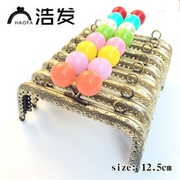 Discount purse frame bag handles - 12.5cm 10pcs Square Sewing Metal Purse Frame with Center Candy Kiss Clasp Patchwork Bag Handle Making Cclutch Bag Frame