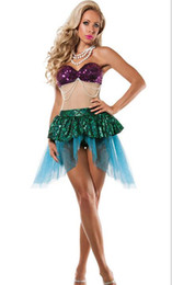 Costumes Parties Australia - Hot Sexy Mermaid skirt Costume Halloween elf princess Blingbling cosplay Gold Mermaid Sequined Girls shell bra Malidaike DS Party dresses