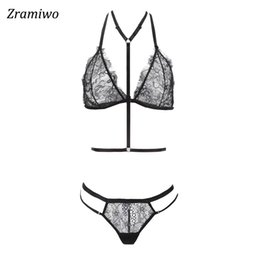 7a207d462d Zramiwo Women Lace Bra Set Harness Bra and Panty Sexy Lingerie Set Sheer  Underwear See through Nighty